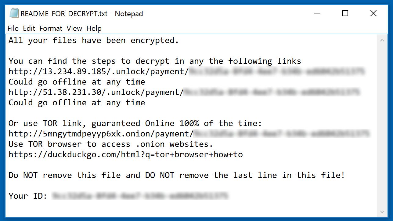 Muhstik ransomware ransom demanding message