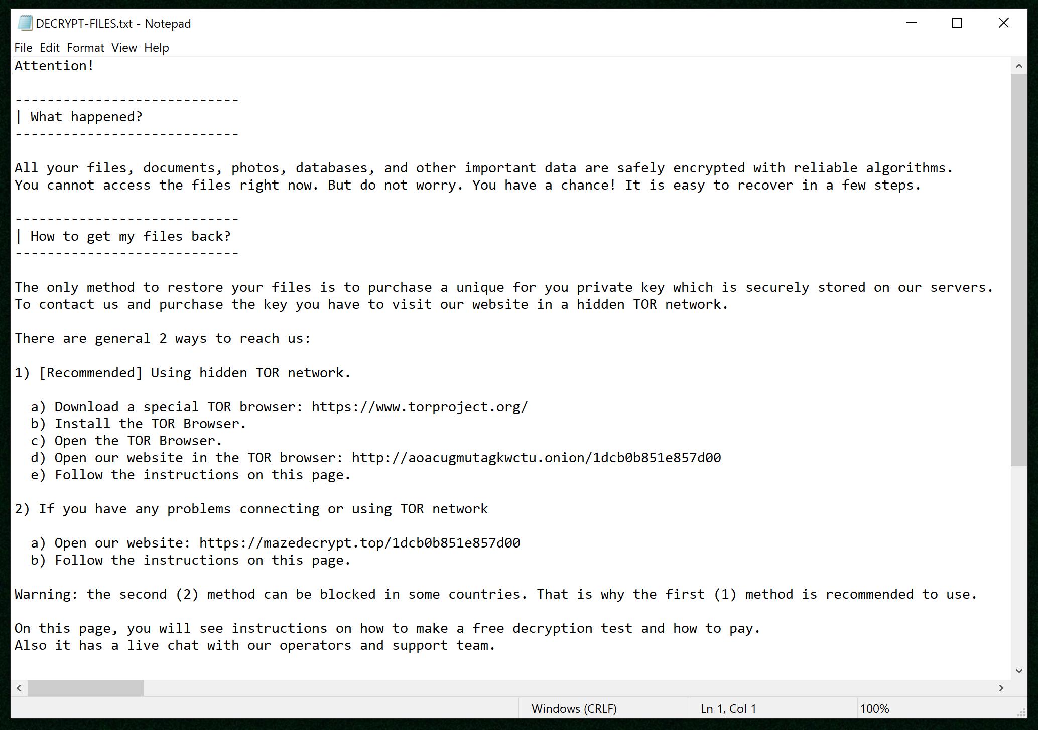 maze ransomware ransom demanding message