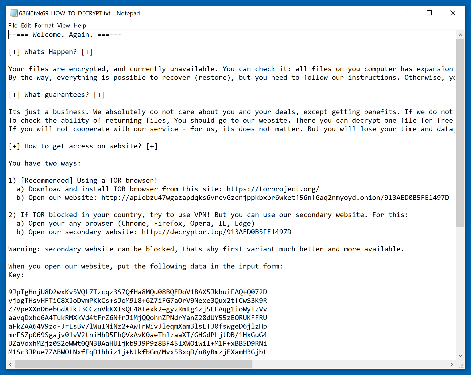 sodinokibi ransomware ransom note