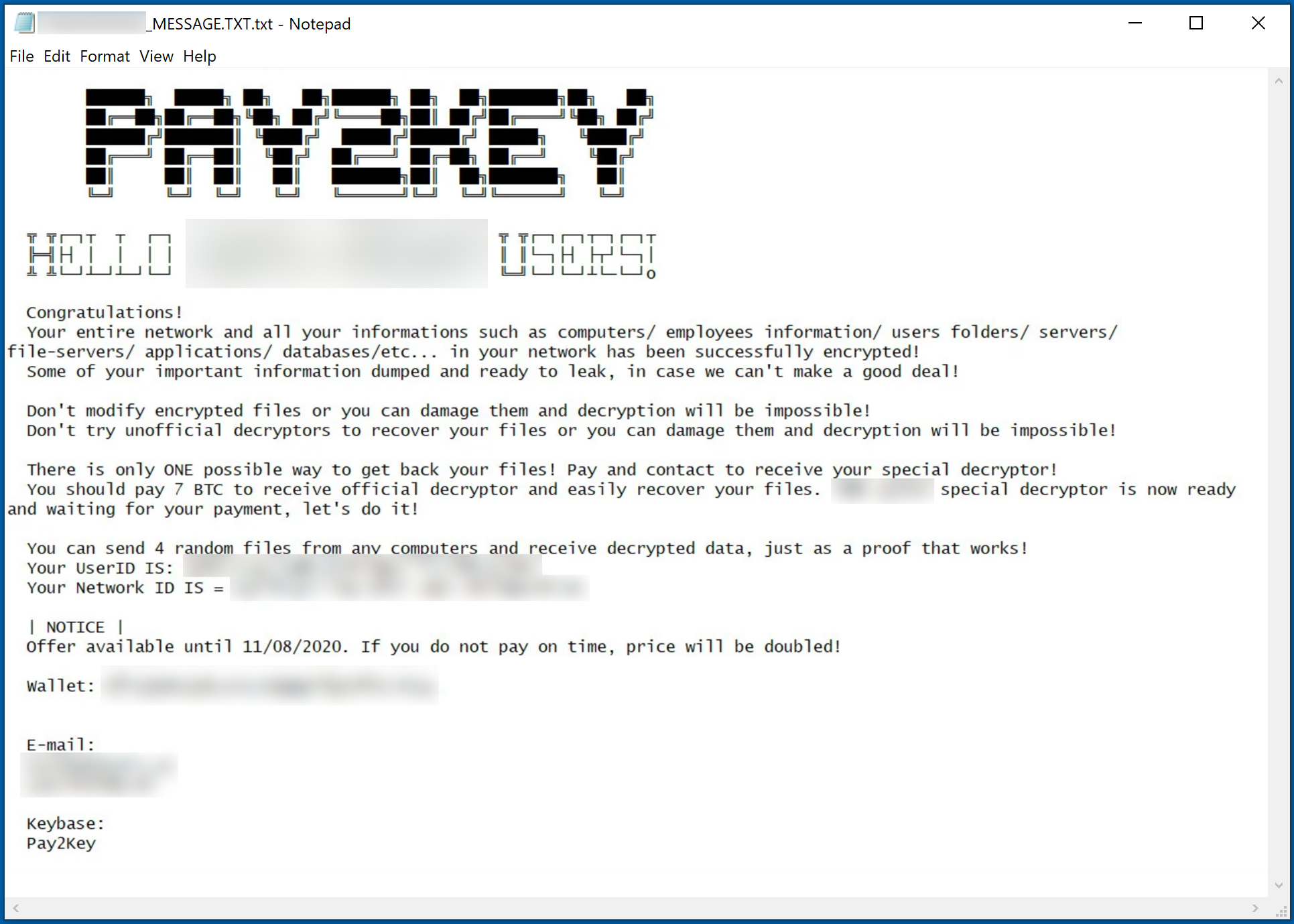 pay2key ransom demanding message